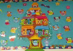 """Our Trend """"Learning Blends is a Hoot"""" bulletin board set as seen at Adventures In Learning. Created by using Trend's """"Owl-Star Job Chart"""" bulletin board set for a different purpose."""