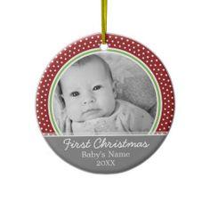 Babys First Christmas - polka dots Christmas Tree Ornaments