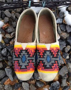 Navajo inspired hand painted Tom shoes by InSensDen on Etsy, $99.00... i HATE toms shoes but i would copy this design myself on some vans!