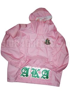 PINK ALPHA KAPPA ALPHA PULLOVER ANORAK JACKET WITH OLD ENGLISH LETTERS  Item Id: PRE-PL-AKAOE-PNK    Price: $99.00