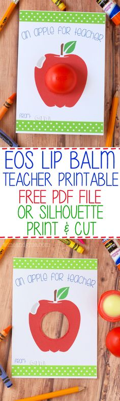 This EOS Apple For Teacher Printable is a super simple and fun gift for your kiddo's teacher!