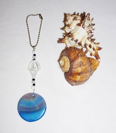 Large Round, Blue Agate, Rear View Mirror Charm, Handcrafted, Elegant Unique Gifts, Blue Agate Pendant, Shell Glass Bead by EarthDreamsbySunLi on Etsy