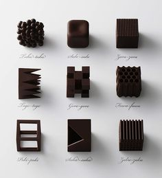 Chocolatexture: 9 bricks of chocolate represent the the Japanese words for texture.   Click to see all the chocolate and a link to 'nendo chocolatexture'