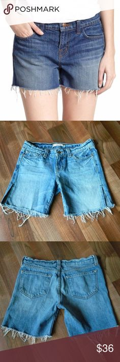 """J Brand Low Rise Cut Off Frayed Shorts Size 25 In great pre-owned condition J Brand cut off shorts. Size 25. Frayed at the hems with slit on the sides. Relaxed fit. Measurements: 30"""" waist, 4.75"""" rise, 6"""" inseam. No trades. Open to reasonable offers. Happy Poshing! J Brand Shorts Jean Shorts"""