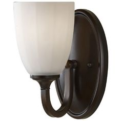 Modern Sconce Wall Light with White Glass in Heritage Bronze Finish