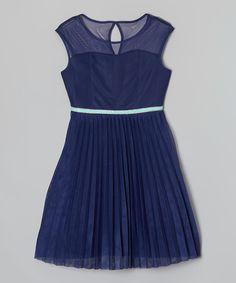 Look at this #zulilyfind! Speechless Navy & Mint Jewel Belted Dress - Girls by Speechless #zulilyfinds