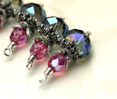 Vintage Style Mystic Blue AB Rondelle Crystals and Raspberry Czech Bead Dangle Charm Drop Set