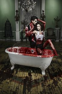 """Cycle #14: when Tyra watched too much True Blood and then made the models pose as vampires in a blood-filled bathtub. 