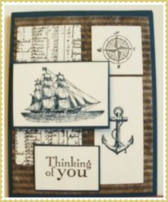 Ship in Motion SU by Nancy Beauchamp, The Open Sea, And Walk in the Wild. Is what I used to create this card. The background paper is NOT SU  Everything else is Stampin Up!