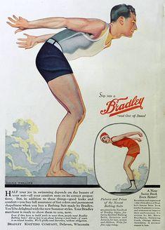 "Bradley Knitwear ad for swim suits. Because ""your comfort rests on correct proportions""! Vintage Comics, Vintage Ads, Vintage Prints, Information Poster, Vintage Swimsuits, Print Advertising, Vintage Outfits, Vintage Clothing, Vintage Fashion"