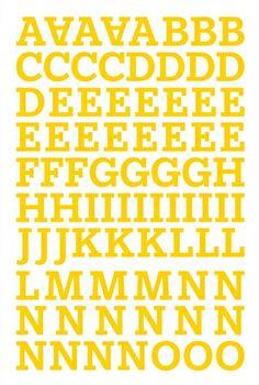 """Alphabet Sticker """"Victoria"""" – gelb Alphabet Stickers, Victoria, Scrapbook, Words, Magenta, Purple, Blue Prints, Yellow, Scrapbooking"""