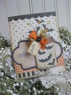 What a charmingly fun Jar of Bats Halloween card. #paper_crafts #scrapbooking #cards #Halloween