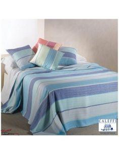 ideale per una #camera da #letto in stile #marinaro #copriletto #estivo in puro cotone riva di caleffi fantasia righe #blu #azzurro