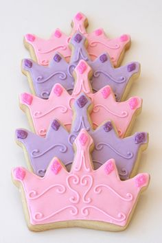 """Princess crown cookies to be wrapped as favors for a Cinderella princess birthday party. Vanilla sugar cookies decorated with royal icing and disco dust (on the """"jewels""""). I'll be making a Castle Cake for the party as well. Photo will come Sunday =) Sofia The First Birthday Party, Disney Princess Birthday Party, Disney Princess Party, Cinderella Princess, Cinderella Party, Disney Princess Cookies, Princess Sofia Cake, First Birthday Cookies, Tangled Birthday"""