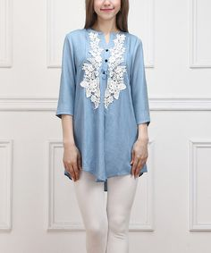 Another great find on #zulily! Chambray Lace-Appliqué Notch Neck Tunic by Reborn Collection #zulilyfinds
