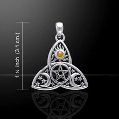 Crescent Moon Pentacle Mixed Gemstone .925 Sterling Argent Pendentif Peter Stone
