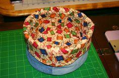 Tammy's Craft Emporium: Denim Do it All Bins - tutorial - basket making continues.