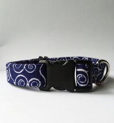 Navy Swirl Dog Collar Handmade
