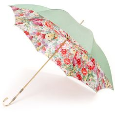 Floral Mint Deluxe Double Canopy Umbrella by Pasotti featuring polyvore, fashion, accessories, umbrellas, umbrella, other, fillers, floral, gold umbrella and floral umbrella