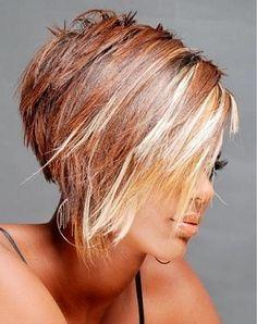 Asymmetrical hairstyle.