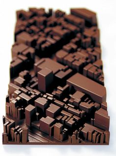 Choc block, chocolate // 3D Printed Chocolate City by Naoko Tone and Atsuyoshi Iijima #3Dprinting