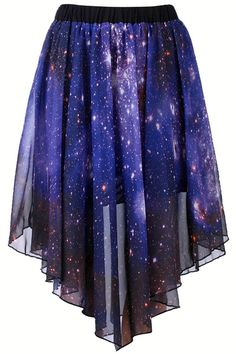 Starry Night Asymmetric Skirt original:$34.99  current:$23.66 SAVE: 32% OFF OMZEEEEE #ROMWE