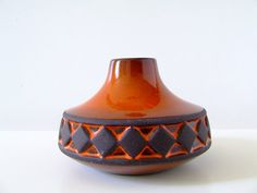Frank Keramik Denmark - Ceramic Bud Vase - Orange with Raw Body - Danish Pottery on Etsy, $49.58