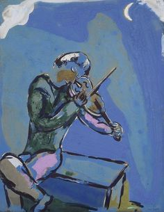Marc Chagall,  Le Violiniste Bleu on ArtStack #marc-chagall #art