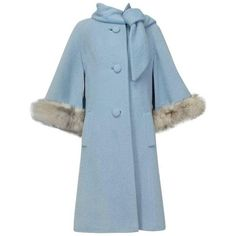 Preowned Powdery Lilli Ann Paris Fox Trim Ulster Swing Coat, 1950s (1425 TND) ❤ liked on Polyvore featuring outerwear, coats, blue, ulster coats, button coat, fox fur cape, fur cape, blue fur coat and blue fox coat
