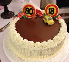 Birthday cake for men 18 and 80.