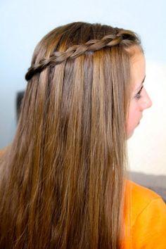 Dutch Waterfall Braid from Cute Girls Hairstyles Cgh Hairstyles, Cute Girls Hairstyles, Braided Hairstyles Tutorials, Hairstyles For School, Latest Hairstyles, Haircuts, Braids For Long Hair, Hair Videos, Curly Hair Styles