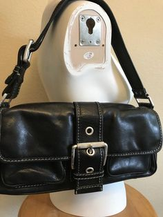 Vintage Michael Kors Purse Black Leather Satchel Bag Shoulder Silver  Hardware MK  MichaelKors  Satchel fb0d8fdc54f1f