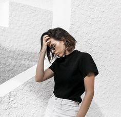 Black tee white skirt