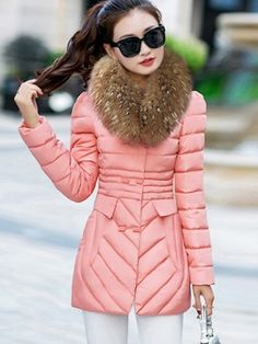 Ericdress Color Block Slim Fur Collar Plus Size Coat