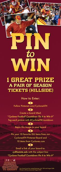 Enter our Pin to Win Contest for a chance to win hillside season tickets! #CountdowntoKickoff #CycloneFB #CycloneFBCountdown