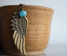 Angel Wing Necklace Antique Bronze Wing Jewelry Womens by ktnunna, $16.00