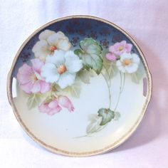 RS Germany Pink and White Floral Two Handled Plate Early Victorian Home Decor, Antique Decor, Blue Lotus Flower, Cosmos Flowers, Solid Color Backgrounds, Thing 1, Hand Painted Plates, Vintage Dinnerware, Antique Glassware