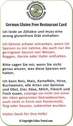 Gluten free restaurant card in German from Celiac Travel