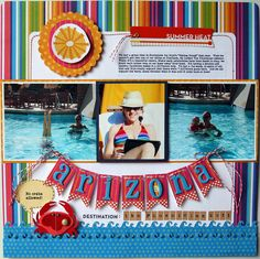 #papercraft #scrapbook #layout  summer vacation layout