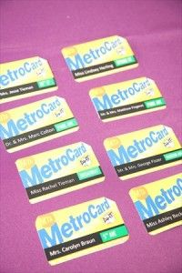Metro cards for seating cards at a NYC themed Bat Mitzvah - clever!