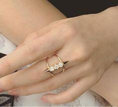 Graceful Rhinestoned Layered Cuff Ring For Women