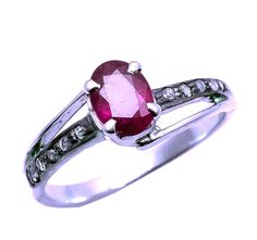 New 925 Sterling Silver Natural Ruby & Diamonds  Gemstone Women's Ring Jewelery #SimSimSilver #New