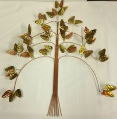 "LARGE TREE OF LIFE JERE ERA MID CENTURY BRASS WALL SCULPTURE METAL COPPER 31"" B"