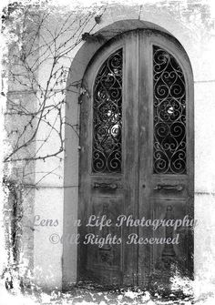 SALE 12.00 - Ready To Ship - THE CRYPT - Only One Available - Gothic Mausoleum Door - 5 x 7 Fine Art in Black & White - Unique Wall Art