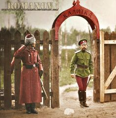 A soldier saluting the last Tsar while he's walking through a gate.