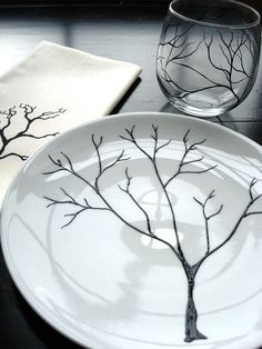 gray and white ceramic plates with botanical art | || KITCHEN ...