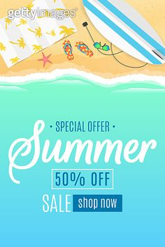 Flyer for the summer sale. Surfboard, beach goggles and sponges. Beach Pollution, Beach Cartoon, Summer Banner, Event Banner, Summer Special, Beach Pool, Banner Template, Summer Travel, Cartoon Styles
