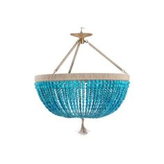 Ro Sham Beaux Malibu Turquoise 3-Arm Chandelier (€3.010) ❤ liked on Polyvore featuring home, lighting, ceiling lights, colored lamps, chain lamp, turquoise lamp, beaded lamp and colored chandelier
