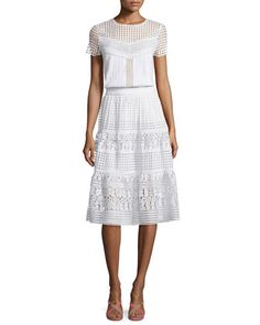 Lauryn+Short-Sleeve+Plisse+Top+&+Tiana+Tiered+Lace+A-Line+Skirt+by+Diane+von+Furstenberg+at+Neiman+Marcus.
