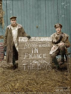 """ Fred R.F.A. Charles. Somewhere in France, Two of The Boys."" Original image courtesy of Ross Coulthart, author of 'The Lost Tommies' & the Kerry Stokes Collection. Colorized by Memento. Раскрашенные фотографии времён Первой мировой, — видео 